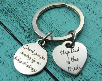 Step Father keychain, Step Dad gift, Step Father of the bride gift from daughter, personalized wedding gift for Step Dad, thank you gift