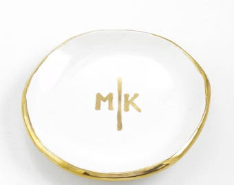 Line Bar Monogram Wedding Personalized Ring Dish