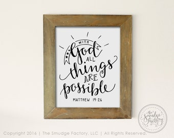 Bible Verse Printable File, With God, All Things Are Possible DIY Print, Matthew 19:26, Hand Lettered, Bible Verse Wall Art Vinyl Stencil