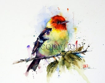 TANAGER Watercolor Bird Print, Bird Art painting by Dean Crouser