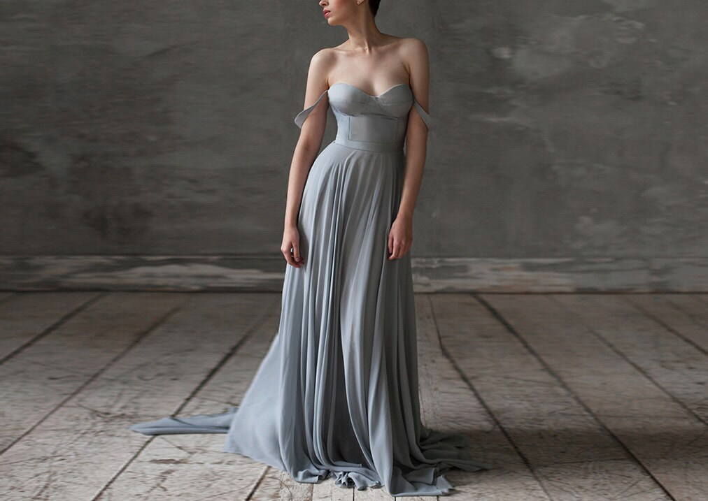 Eeribiya Grey Wedding Dresses Silk Dress Boho