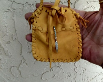 Native American Gold Deerskin Leather Neck Pouch,Purse,Pouch,Medicine Bag,