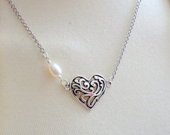 Heart Necklace, Filigree Heart Necklace, Pearl Necklace, Bridesmaid Jewelry SALE