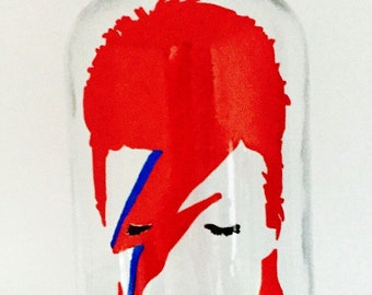 David Bowie Ziggy Stardust Hand Painted Mason Jar