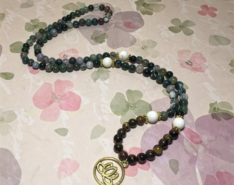Fancy Jasper Mala Necklace with Tigers Eye and Howlite