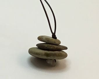 Lake Superior Beach Stone Cairn Necklace #322017
