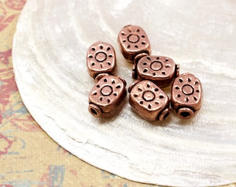 Oxidized Copper Bali Style Beads - Antiqued Copper Beads - 9x10mm - 6 Beads - Solana Kai Beads - Portland OR
