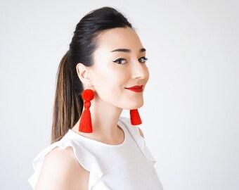 Red Tassel Earrings Red Pompom Earrings Statement Earrings Statement Jewelry Boho Earrings Bohemian Earrings Boho Jewelry/ POMENA