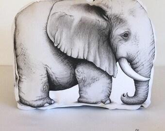 Elephant Stuffie, Medium Size. Animal Softie, Plush Soft Toy. Illustration by flossy-p. Gold geometric back.