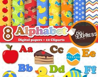 """Alphabet Digital Paper + Clipart - Part 1 : """"Alphabet Digital Paper"""" - Alphabet Clipart, letters, A to Z Clipart, Alfabeto, Abecedário, ABC"""