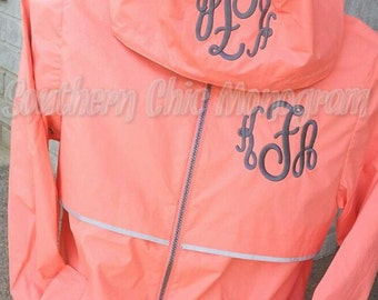 Bright Coral raincoat Preppy Charles River Women's New Englander 5099 Monogrammed Rain Jacket Sorority Greek Preppy Plus Size