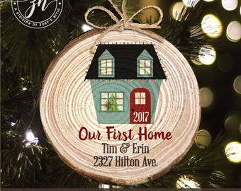 First home wood slice Christmas ornament - new home keepsake ornament MWO-28