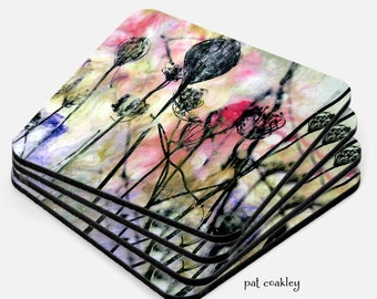 Queen Anne's Lace Mixed Media Painting Coaster Set   Hostess Gift