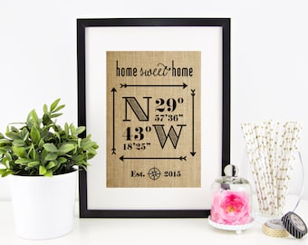 New Home Housewarming Gift, Wedding Gifts for Couple, Latitude Longitude Sign House Warming Gift Wedding Gift Closing Gift Rustic Home Decor