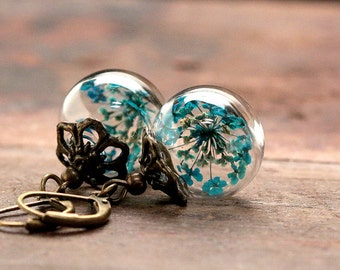 Earrings with turquoise colored dill flowers queen annes lace gift for her- E174