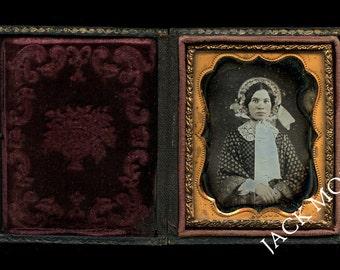 Sealed 1/9 Daguerreotype ~ Pretty Girl in Bonnet by Kansas? Photographer McElroy