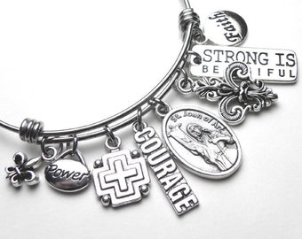 Saint St. Joan of Arc Catholic Holy Medal Charm Bangle Bracelet, Stainless Steel, Power Faith Courage, Devotional Jewelry
