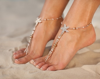Rose gold barefoot sandals, Rhinestone starfish Bridal foot jewelry Beach wedding Barefoot Sandals Bridal shoes Footless sandal, anklet