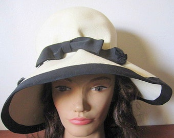 Vintage 50's Wool Felted Cream Colored Hat with Black Ribbon Trim and Wide Brim