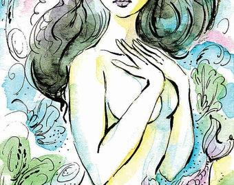 Mermaid painting, girl and sea, watercolor illustration, wall decor, woman and sea, mermaid art, woman wall print 8x12+