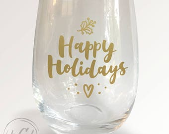 Happy Holidays Stemless Wineglass