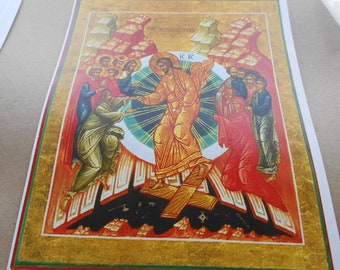 Cross stitch Resurrection Icon