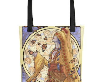 Lady of November Day of the Dead Halloween Death Goddess with Monarch Butterflies Art Nouveau Mucha Style Birthstone Tote Carrying Bag