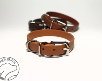"Caramel Brown Little Dog Collar - 1/2"" (12mm) Thin Beta Biothane Dog Collars - Waterproof Small Dog Collar"