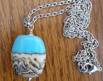 Blue and Cream Beach or Coastal Style Pendant.
