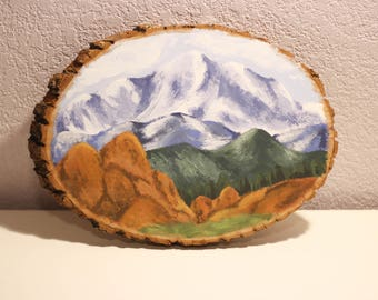 Wood Slice Mountain Painting | Garden of the Gods and Pikes Peak | Acrylic Painting