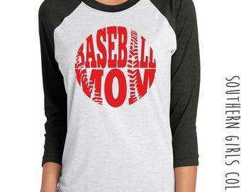 Baseball Mom Raglan Shirt - T-Ball Mom Shirt - Base Ball Tshirt - Baseball Graphic Shirt - Custom Baseball Tee - Team Mom