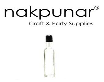 1 pc 60 ml  Square Marasca Glass Liquor Bottles with Black Cap