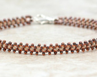 Seed Bead Anklet - Ankle Bracelet - Summer Jewelry - Beadwork Jewelry - Daisy Chain Anklet - Brown Anklet - Beaded Anklet