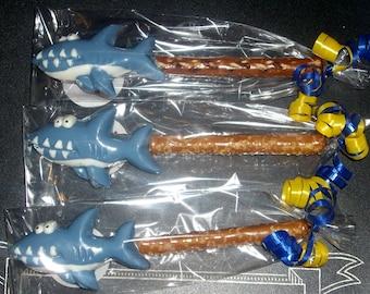 Chocolate Shark Pretzel Rods