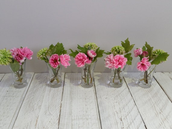 Pink lime green silk flowers small silk flower arrangement pink lime green silk flowers small silk flower arrangement pink blossom cute little glass vases artificial faux mothers day gift birthday mightylinksfo Images
