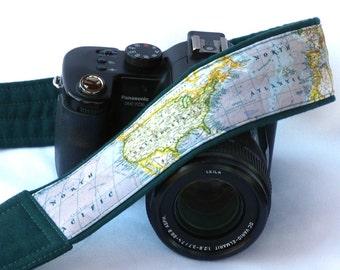 DSLR Camera Strap. World Map Camera Strap. Padded Camera Strap. North America, United States, Gift Photographer. Personalized Camera Strap.
