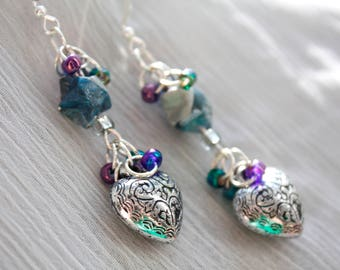 Blue Paper Stars and Hearts Earrings