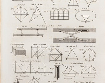 1786 Antique Mathematical Print , Georgian Copper Plate Engraving, Black and White. Geometry, Mathematics