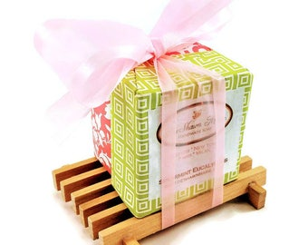 Soap Gift, 2 Soaps with soap dish gift, Mother's Day Gift, Birthday Gift, Gift Set, Vegan gift, Christmas Gift, Housewarming Gift
