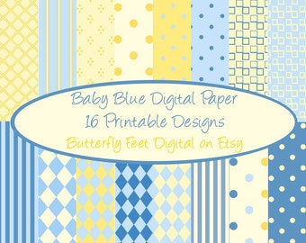 Blue and Yellow Digital Paper, 16 Printable Designs, Scrapbooking, Card Making, Invitations Baby Boy, Instant Download