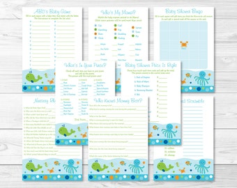 Blue Under The Sea Baby Shower Games Package / 8 Printable Games / Under The Sea Baby Shower / Baby Boy Shower / INSTANT DOWNLOAD A229