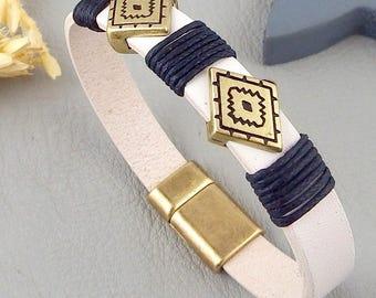 white man and bronze leather bracelet ethnic boho