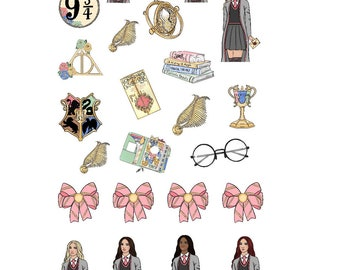 Wizard,deco,fashion,girl,planner,stickers,happy planner,erin condren,personal,bullet journal,filofax,sticker,tn,cute,hair,colour, bows,roses