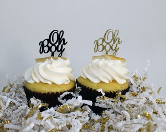 Oh Boy Cupcake Toppers - Baby Shower - Set of 6 Laser Cut Acrylic Food Picks
