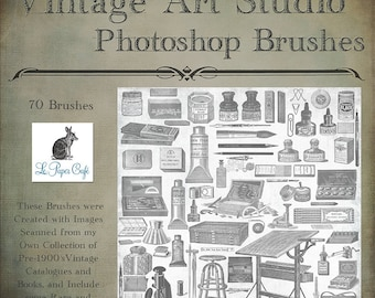 Vintage Art Studio - Ink- Pens - Drawing Table - Watercolor - Paint - Photoshop Brush Set  - 70 Brushes - Instant Download - .abr Files