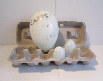 Antique Blown Glass Easter Egg Milk Glass 1906 and Hen Eggs
