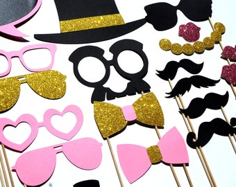 Fancy Photo Booth Prop Set ~ Pink and Gold Edition ~ 21 pieces ~ Birthdays, Weddings, Parties ~ GLITTER Props ~ Includes Chalkboard Bubble