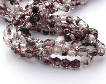 Crystal - Deep Amethyst Hurricane 4mm Facet Round Czech Glass Fire Polished Beads 50pc #MC6