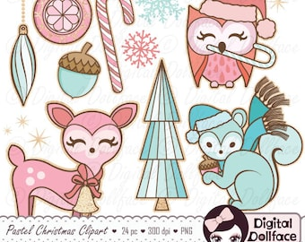 Woodland Christmas Clipart, Pastel Christmas Graphics, Printable Images, Clip Art Downloads