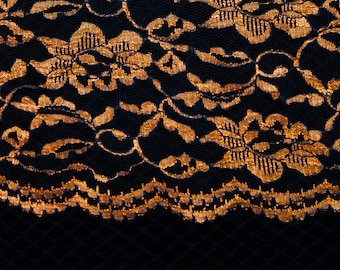 "2 1/2 Yards of 45"" Vintage Lace Fabric. Coppery Gold on Black. Floral Design. Scalloped Edges on Both Sides. Sewing, Crafts. Item 3882F"